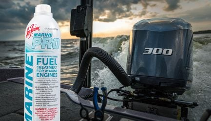 Marine Pro Fuel Professional-Grade Fuel Treatment in 300 hp outboard, achieves Maximum Performance.